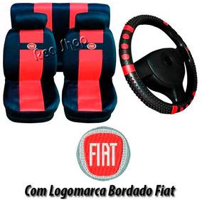 Uno Ep Jogo Capa Banco Carro Fiat +capa Volante Vermelho