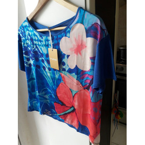Hot Sale ! Tucci Imperdible Remera Azul Flower !!!