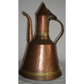 Antigua Gran Jarra Cobre Arabe Turco Agua Cafe 38 Cm De Alto