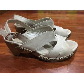 Zapatos Ossira N36 Cuero Taco Madera
