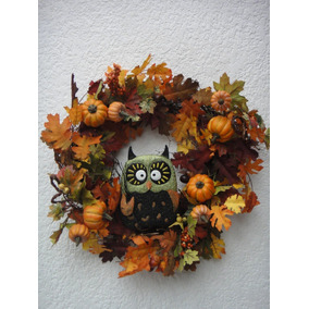 Corona Halloween Adorno Búho Con Calabaza Decoración Muertos