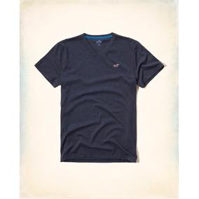Camiseta Hollister Surf Masculina Gola V Azul Nova Original