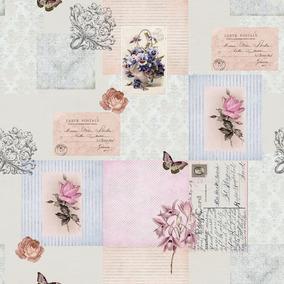 Papel Parede Infantil Menina Borboleta Rosa Floral Vintage