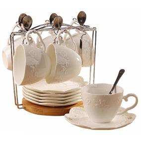 Set 6 Tazas Porcelana Fina Elegante Platos Cucharas