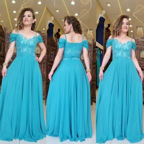 Vestido Festa Longo Azul/verde Tiffany Madrinhas Casamento
