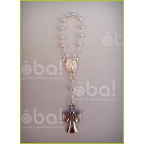 $ 25- Mini Rosario Con Angel, Souvenir Bautismo, Comunión