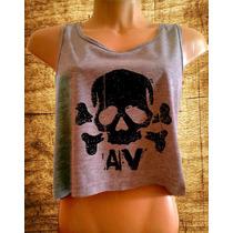 Blusa Cropped Avril Lavigne Feminina Regata Cavada Camiseta