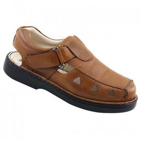 Sandália Masculina 302 Em Couro Comfort Café Dr Shoes