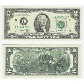 Nota De 2 Dolar Cedula Dois Dolares Two Dollar Bill U$2,00