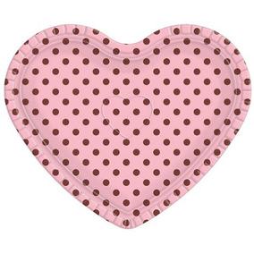 Bandeja Coração Rosa Poá Marrom - 30cm X 35cm - Unidade