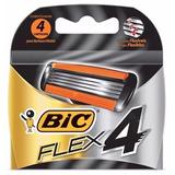Refil Aparelho Bic Flex 4 - 4 Cartuchos / 4 Lâminas Cada