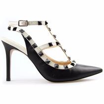 Sapato Feminino Scarpin Com Spikes Salto Agulha 9,5cm Lindo