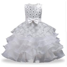 Vestido Infantil Festa Lantejoulas Babado Em Cascata Daminha