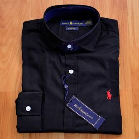 Camisa Social Ralph Lauren Masculina Preta Custom Fit