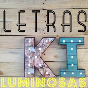 Letras Con Luz Luminosas Luces Led De Baterías Retro Vintage