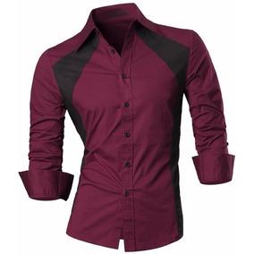 Camisa Social Masculina Slim Fit Duas Cores Vinho Escuro Of