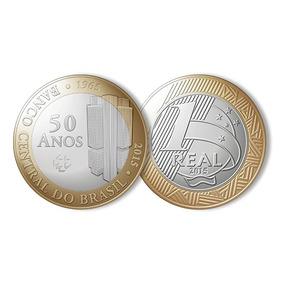 Moeda Comemorativa Banco Central Do Brasil 50 Anos De R$1