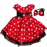 Vestido Minnie Infantil Luxo Fantasia Para Festa C/ Tiara