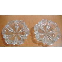 Juego De 2 Ceniceros Forma De Flor De Cristal Cortado