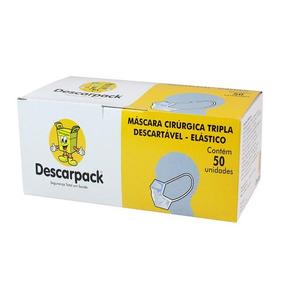 Máscara Cirúrgica Tripla Descartável Com Elástico - C/ 50 Un
