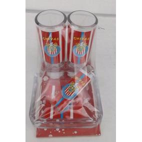 Juego De 2 Vasos Tequileros Y Cenicero De Las Chivas