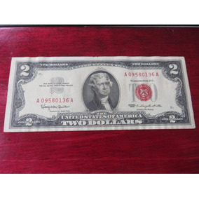 Billete Two 2 Dollar Sello Rojo 1963 Red Seal Au