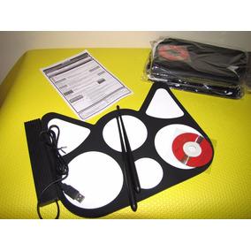 Bateria Eletrônica Drum Roll-up Em Silicone Usb E Midi 6 Pad