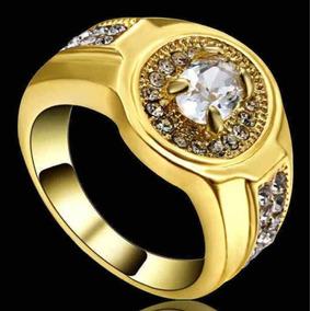 16,5 Anel Masculino Feminino Cristal Diamante Banho Ouro 93