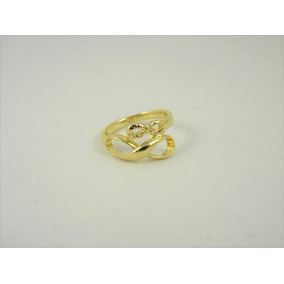 Anel Ouro (banho) Simbolo Infinito Duplo Aro 16 Frete Grátis