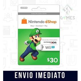 Cartão Nintendo Usa 3ds Wii U Eshop Cash Card $30 Dólares -