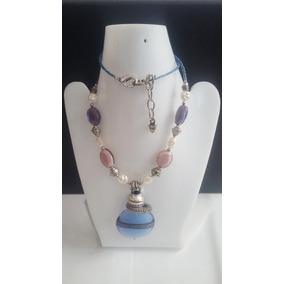Collar+pulsera+aretes -bola Lila Perla Rosa Chaquira-