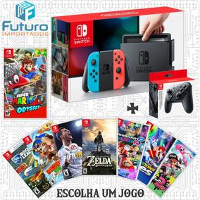 Nintendo Switch Neon + Pro Controller + 1 Jogo A Escolher