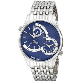 August Steiner Mens As8141bu Silver-tone Dual-time Watch