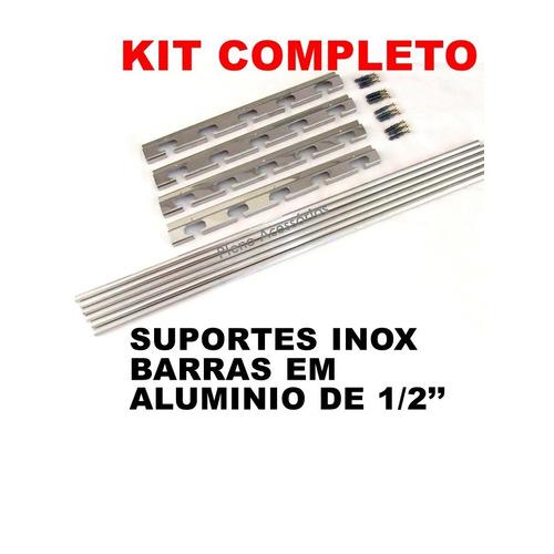 Suporte Inox P Churrasqueira + 6 Barras De Alum 1 Metro Tb