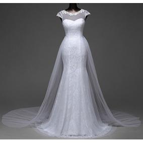 Vestido Noiva Sereia Cauda Longa Removível Casamento