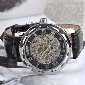 Reloj De Hombre Skeleton Mecánico Winner, Negro Con Plateado