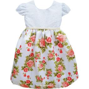 Vestido Floral 1 Ao 4 Princesa Luxo Festa Daminha E Tiara