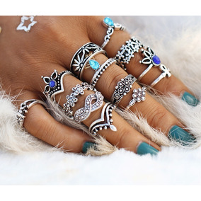 Set 13 Anillos Hippies - Strass Boho Middle Ring Moonstone