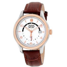 4ccf6269ee1 Relógio Wenger Classic Marrom branco Couro Dourado Suíço Gmt. R  1.299