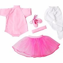 Roupa De Bailarina Para Bonecas Laço De Fita - Rosa Tam G