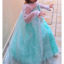 Vestido Princesa Elsa Frozen Con Zapatos Y Corona Envio Grat