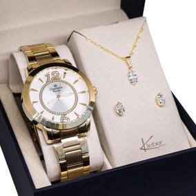 Relógio Champion Feminino Dourado Ch24259h Kit Colar Brincos