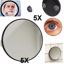 Espelho Pequeno Aumento 5x Ventosa Maquiagem Limpeza Pele