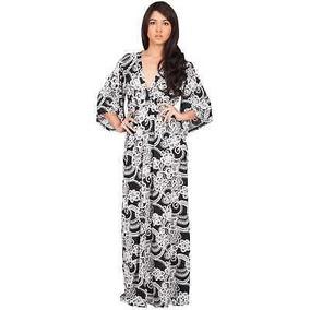 Vestido Largo Con Estampado De Kimono De Manga 3/4 Estampad