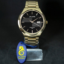 Relógio Masculino Social Dourado Marca Atlantis Original