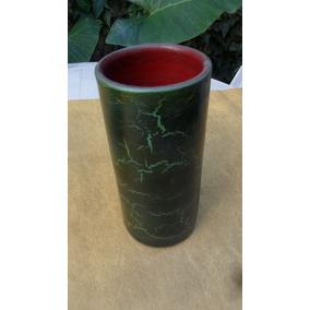 Florero Jarrón Ceramico Esmaltado Verde