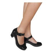 Sapato Preto Feminino Boneca Salto Baixo Confortavel Duani