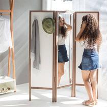 Biombo Ammy Com Espelho E 3 Asas Em Mdf Branco / Nogueira