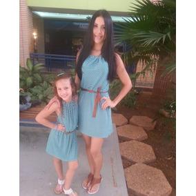 Vestido Casual De Tiritos Al Cuello En Spandex Madre E Hija