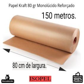 Bobina De Papel Kraft Pardo Monolúcido 80g, 80 Cm X 150 Mts